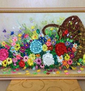 Цветы в корзине, 89х44см