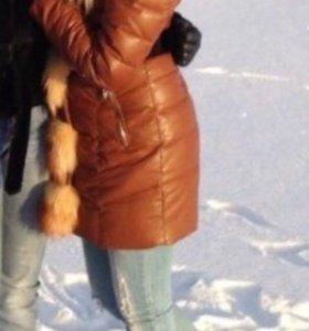 Пуховик зимний 42-44 с натуральным мехом