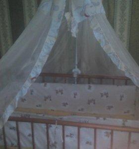 Детская Кровать с матрасом и балдахином, бортики
