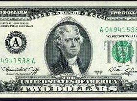 Два доллара купюра на удачу