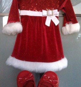 Новогоднее платье Санты с туфельками