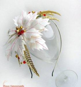 Новогодний ободок с пуансетией