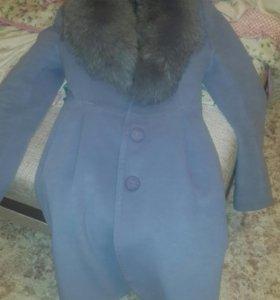 Пальто кашемировое, с натуральным мехом