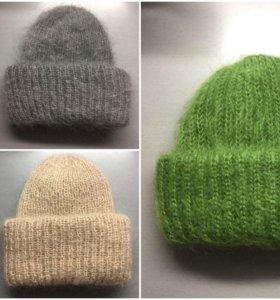 Вязаные шапки, такори, мохер, в наличии