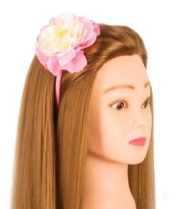 Ободок с розовым цветком