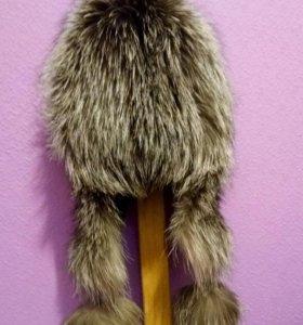 Новая шапка из натурального меха чернобурки