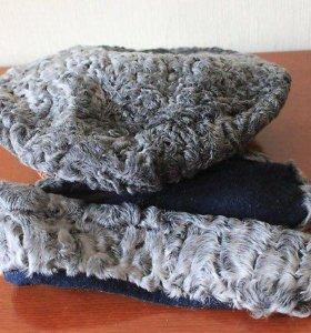 Берет каракулевый+воротник+зимнее пальто