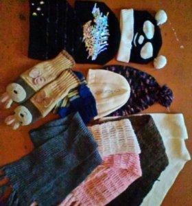 Шапки шарфы варежки цена за все