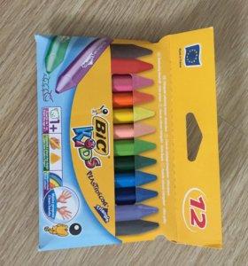 Трехгранные цветные мелки 12шт