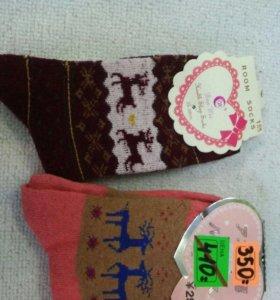 Новогодние шерстяные мягкие носки