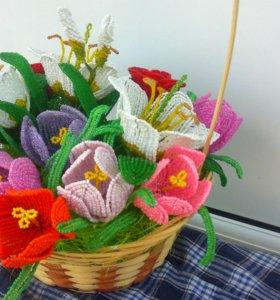 Корзина цветов из бисера на заказ