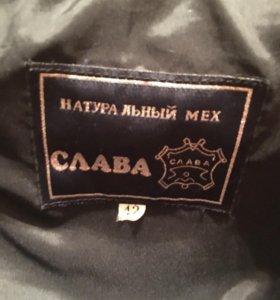 Шуба мутон+чернобурка размер 42-44