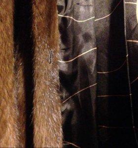 Шубка норковая с капюшоном (коричневая)