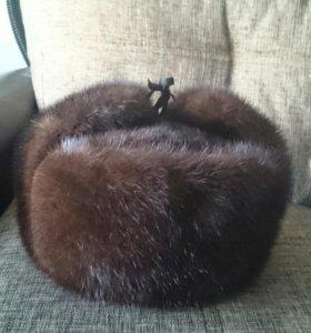 Шапка -ушанка мужская из меха норки