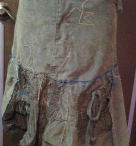 Креативная вельветовая юбка р44.