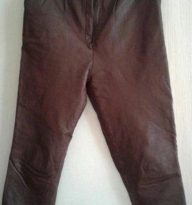 Кожанные брюки коричневые
