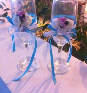 Свадебные бокалы под заказ любой цвет и формат