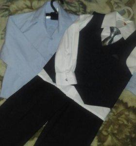 Костюм+ рубашка голубая