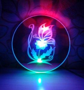 Зеркальный светодиодный ночник-бра