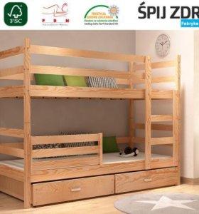 Новая кровать двухъярусная с матрасами и ящиками.