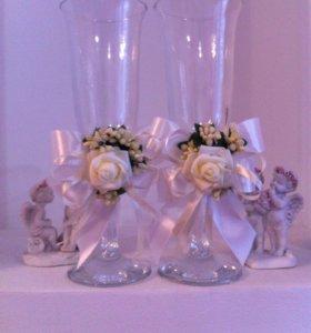 Свадебные бокалы ручной работы на заказ