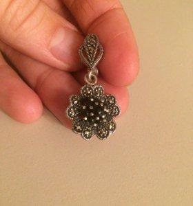 Серьги серебро натуральный камень италия