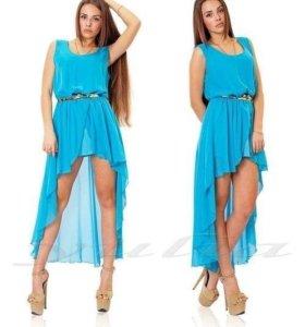 Новое бирюзовое Шифоновое платье