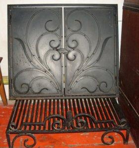 Дверь для камина и подставка для дров