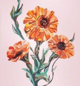 """🖌Картина """"Необычные цветы"""""""