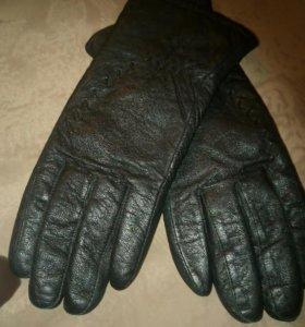Перчатки кожаные женские тёплые