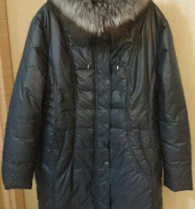Пальто пуховое с чернобуркой