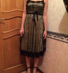 Платье шёлк+гипюр