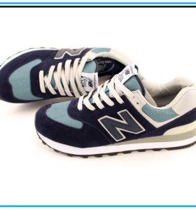 Кроссовки New Balance 574 синие с бежевым