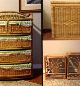 Набор плетёной бамбуковой мебели
