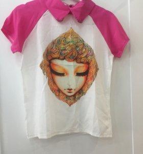 Шифоновая футболка-рубашка новая