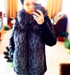 Курточка из кожи и натурального меха чернобурки