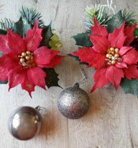 Новогоднее украшение Пуансеттия