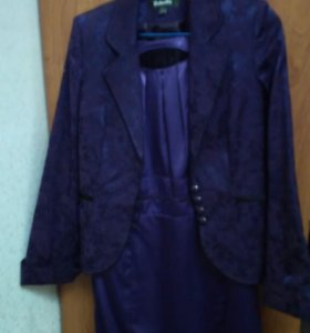 Тройка :Платье, брюки(черные), пиджак.