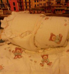 Бортики и постельное белье Мишутка