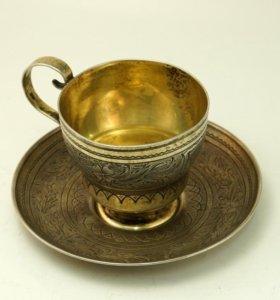 Русская Чайная пара из серебра 1867 год