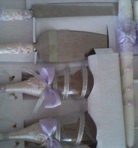 Свадебный набор( бокалы и свечи)