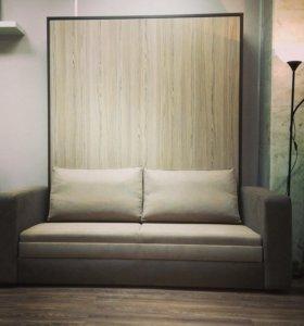 Кровать встроенная в шкаф с диваном