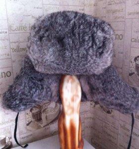 Шапка из меха кролика, очень теплая!