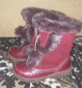 Зимние кожаные сапожки