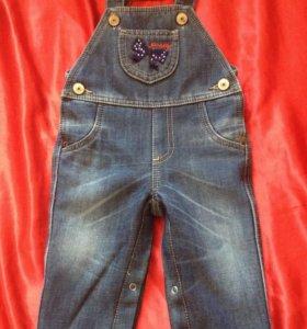 Новый джинсовый комбинезон на флисе 74-80