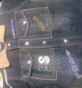 Куртка джинсовая теплая и шапка