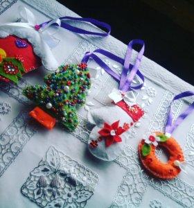 Набор фетровых новогодних игрушек