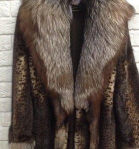 Дизайнерская норковая шуба под леопард