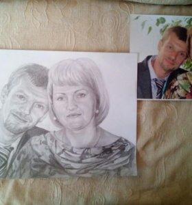 Рисую портреты по фотографии (карандаш, масло)