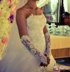 Свадебное платье+ фата+ перчатки